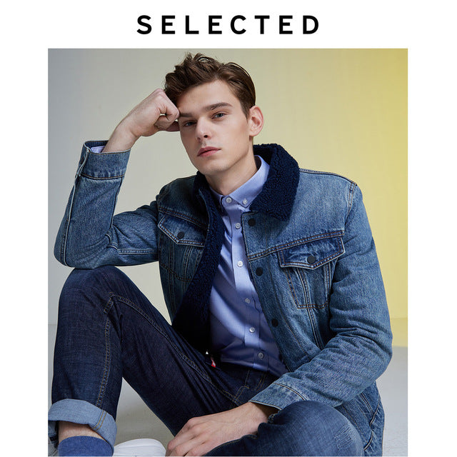 Imitation Lamb Outwear Wool Denim Jacket Male Coat