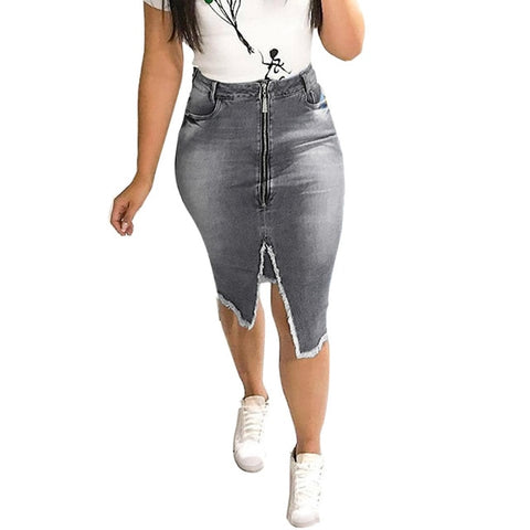 Fashion High Waist Ripped Split Bodycon Street Style Denim Skirt
