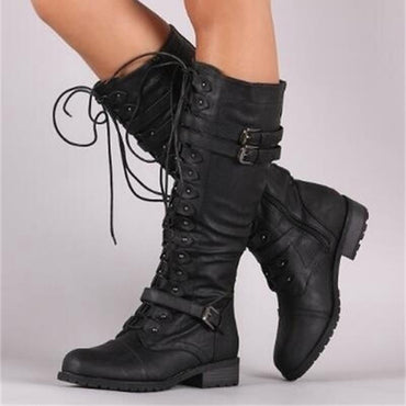 Mid Calf Boots Lace Up Vintage Flat Shoes Sexy