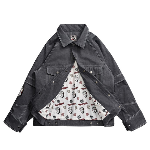 Casual Fashion Streetwear Hip Hop Flight Men Brand Wookong Denim Jacket