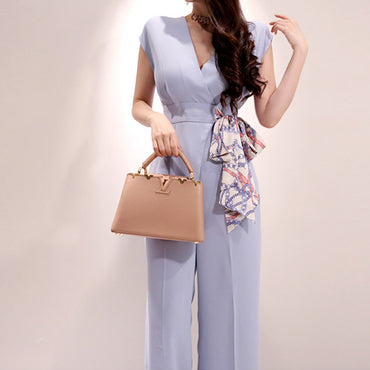 Elegant Belted Waist Business Jumpsuits New Wide Leg