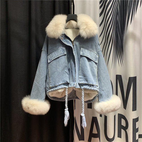 Streetwear Fur Collar Scratch Draw Rope Coat Denim Jacket