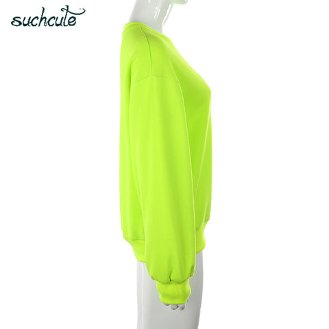 Neon Green Casual Lose Weight Hoody Top O-Neck Hoodies