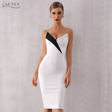 Club Bandage Sexy Sleeveless White Black V Neck Evening Party Runway Dresses