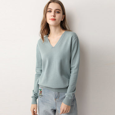 new thin sweater low collar loose v-neck knit bottoming shirt