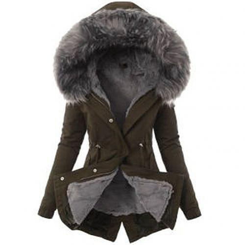 Parka Warm Long Sleeve Jacket Fur Hoodie Padded Parka Outwear