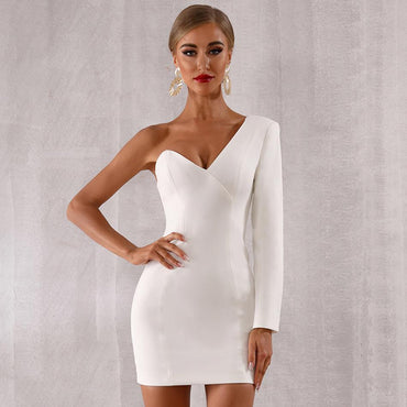 White Long Sleeve One-Shoulder V-Neck Sexy NightClub Mini Dress