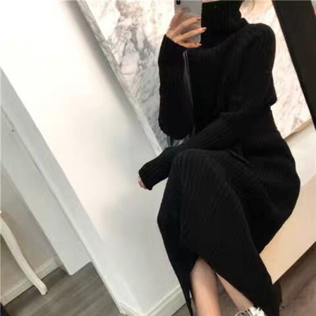 turtleneck super Chic long-sleeve warm knit dress