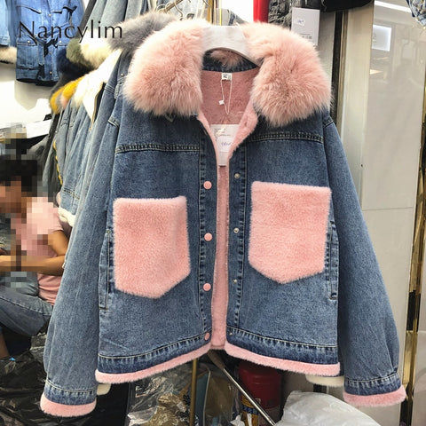 Denim Jacket Real Fur Collar Loose Jeans Cotton Clothes Female