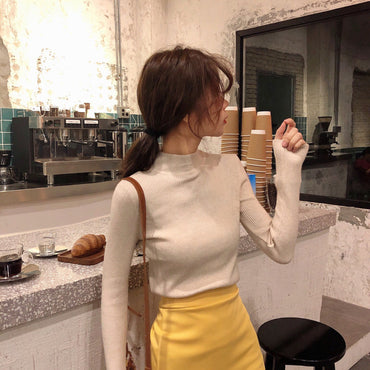 Knitted Turtleneck Sweater Casual Soft Polo-neck Jumper Fashion