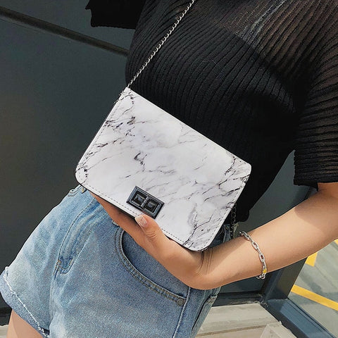 Marble Pattern Shoulder Bag Lock Buckle Wild Messenger Small Square Marble White Handbag
