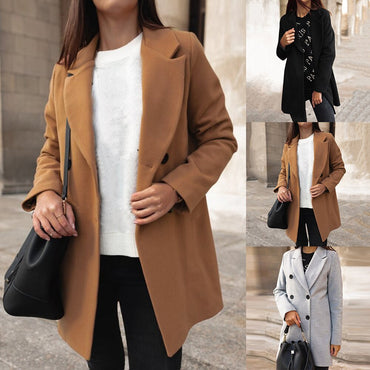 Basic Blends Coats Breasted Mid-Long Wool Jackets Slim Long Sleeve