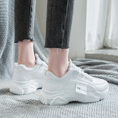 Lace-Up Platform Warm Fashion Sweet Off White Casual Shoes