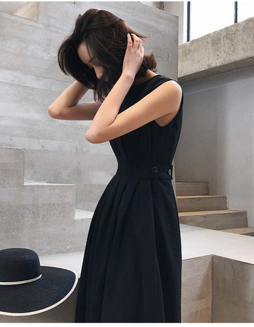 Solid Color Black White Sleeveless Fold Elegant Evening Party Dress