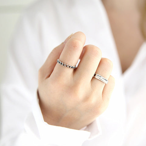 Sterling Silver Open Vintage Style Lady Prevent Allergy Rings