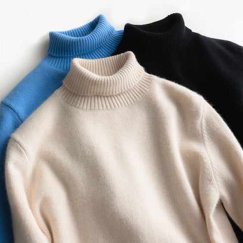 Thick Turtleneck Goat Cashmere Jumper Warm Knitted Pullovers Black Sweaters
