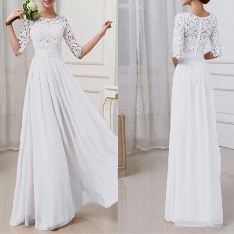 Evening Party Crochet Lace Chiffon Patchwork Maxi Dress