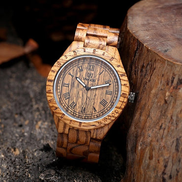 Natural Solid Wooden Watch Luminous Quartz Casual Wood Wristwatch