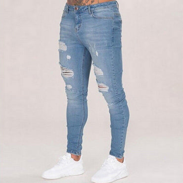Streetwear Jeans Destroyed Ripped Design Pencil Denim Pants