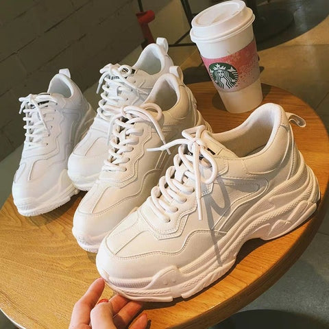 New Warm White Fashion Thick Bottom Platform Sneakers