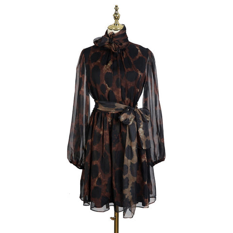 Stand Collar Bandage Bow Long Sleeve Leopard Print Sexy Dress
