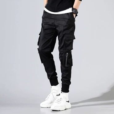 Vintage Cargo Pants Male Hip hop Khaki Black Pockets Joggers Pants