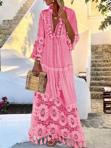 Sexy Boho Long Solid Hollow Out V-Neck Lace Dresses
