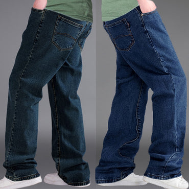 Blue Straight Trousers Streetwear Relaxed Jeans