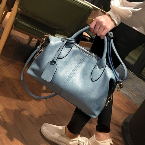 High Quality Leather Big Size Boston Luxury Handbags Messenger