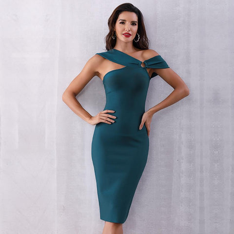 Elegant Party Bodycon Bandage Green Sleeveless One Shoulder Sexy Dress
