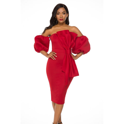 Off Shoulder Christmas Party Red Bodycon Sexy Backless Elastic Clubwear Dress