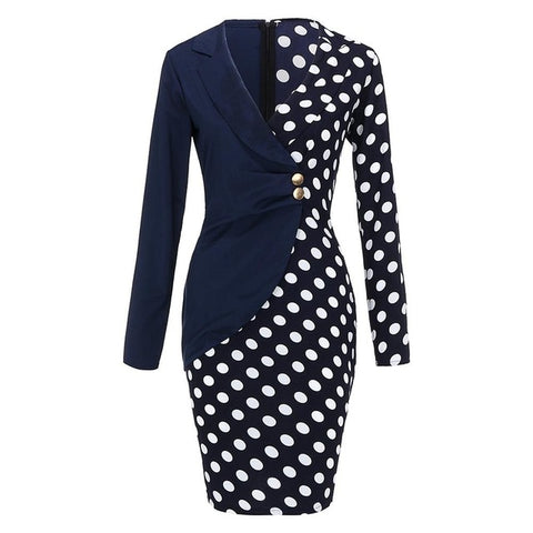 Office Lady Sexy Turn Down Neck Long Sleeve Buttons Formal Dress