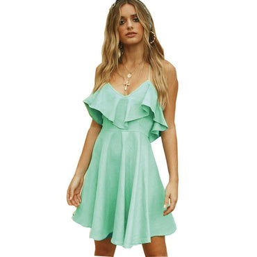 Drawstring Ruffles Bundle Waist V-neck Strap Mini Dress