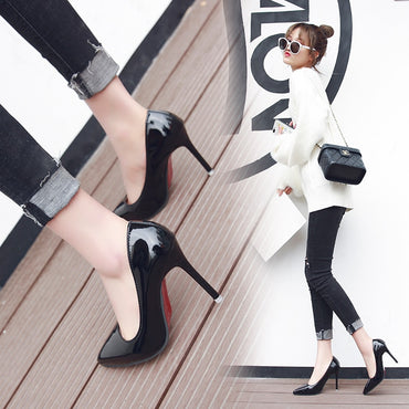 Sexy Elegant Thin Heel Pointed High Heels Black Work Single Shoes