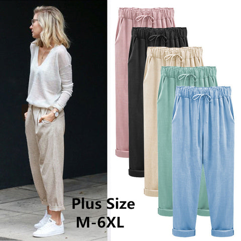 loose cotton and linen broad leg harem casual cargo pants