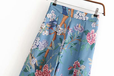 Vintage chic birds print wide leg bohemian pants
