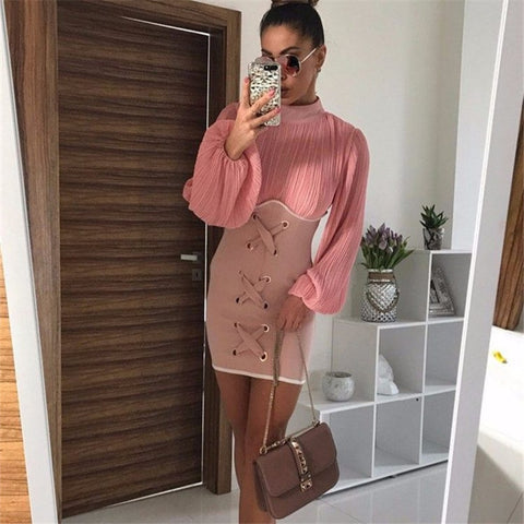 Sexy Long Sleeve Fold High-necked Bodycon Mini Dresses