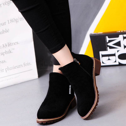 sneakers square heel casual shoes fashion side zipper boots