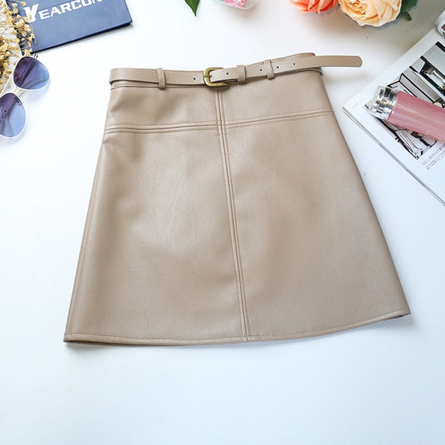 Include Belt  A-Line PU Leather High Waist Office Wear Skirts