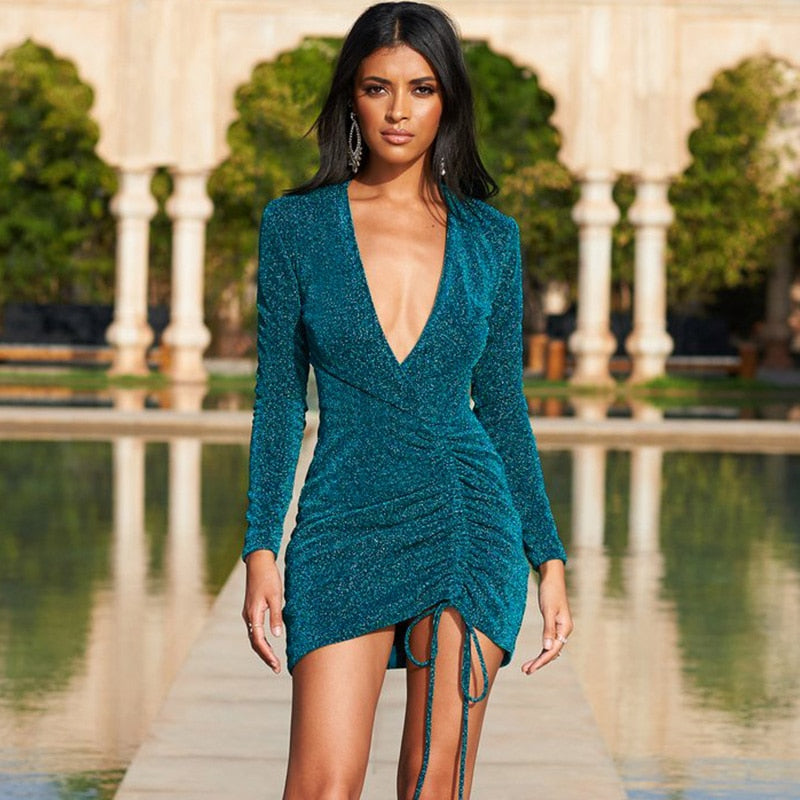 Long Sleeve Sexy Irregular Criss Cross Neck Drawstring Slim Mini Dresses