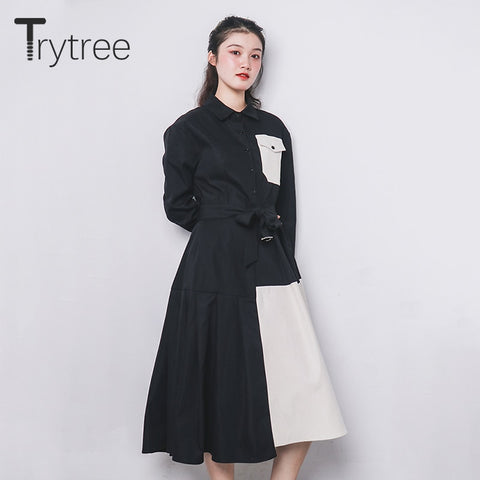 Turn-down Collar Belt Pockets Patchwork A-Line Apricot Hem Office Lady Shirt Dress