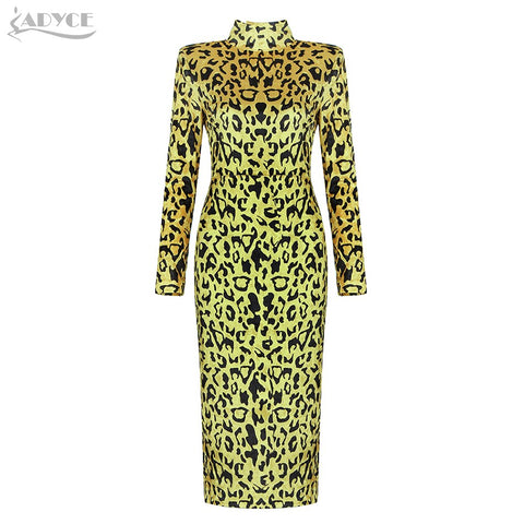 Long Sleeve Sexy Leopard Bodycon Club Mid-Calf Celebrity Party Dresses