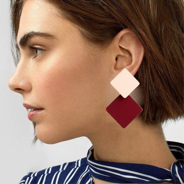 the new paint geometric square exaggerated fashion simple wild red earrings