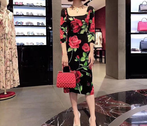 Elegant Sleeve Big Red Rose Flower Print Vintage Black Party Dresses