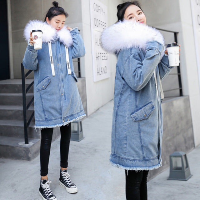 Coat Denim Jacket With Artificial Collar Plus Size Chaqueta