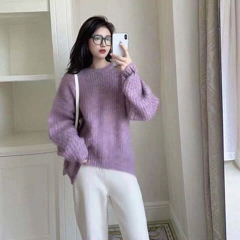 Sweater Loose Knitted Warm Long Latern Sleeve Sweater
