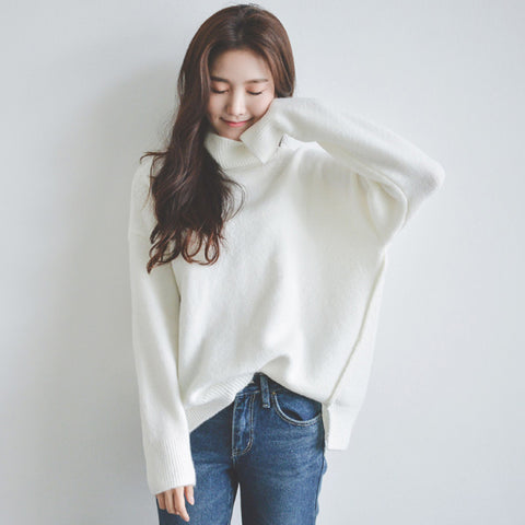 Turtleneck Casual White Sweater Pullover Jumper Top Knitted Sweater