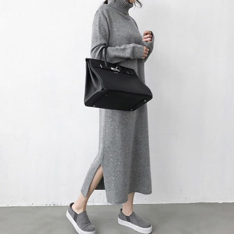 Gray Sweater Dress Knitted Female Full Sleeve Jumpers  Maxi Dress