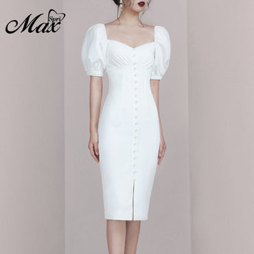 Sexy V Neck Short Puff Sleeves Long Pearl Button Length Party Dress