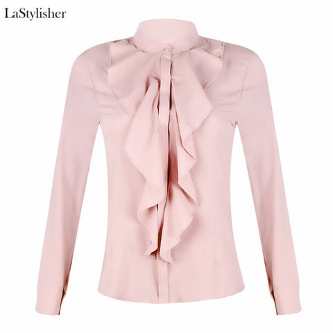 Ruffle Ladies Blouses Shirt White Black Elegant Office Blouse